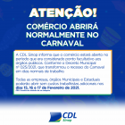 Comércio abrirá normalmente no carnaval